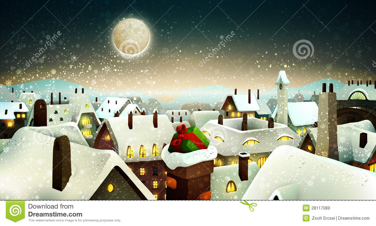 Peaceful Town Under Moonlight At Christmas Eve