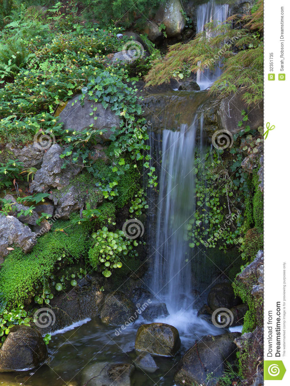 Peaceful waterfall stock image image of serenity for Small green outdoor plants