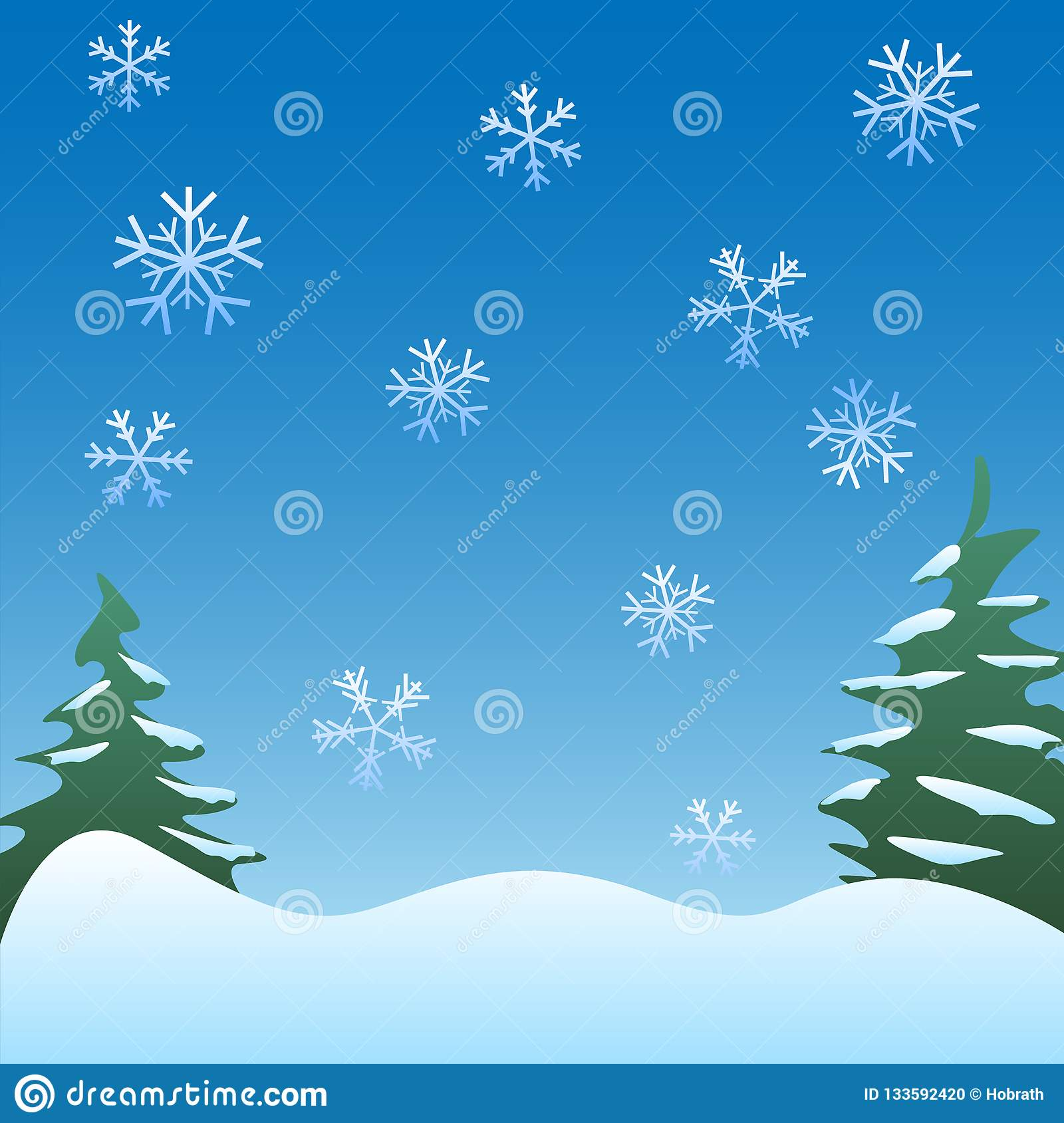Peaceful winter scene background with pine trees, gentle snowflakes, and soft rolling hills vector Illustration