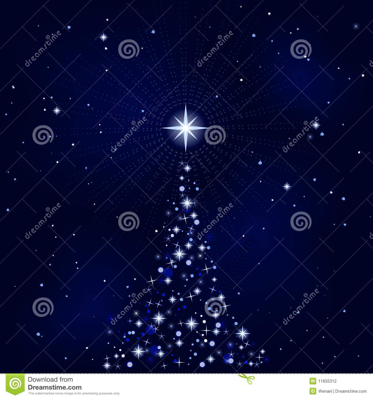 Peacefull Starry Night With Christmas Tree Stock Photography ...