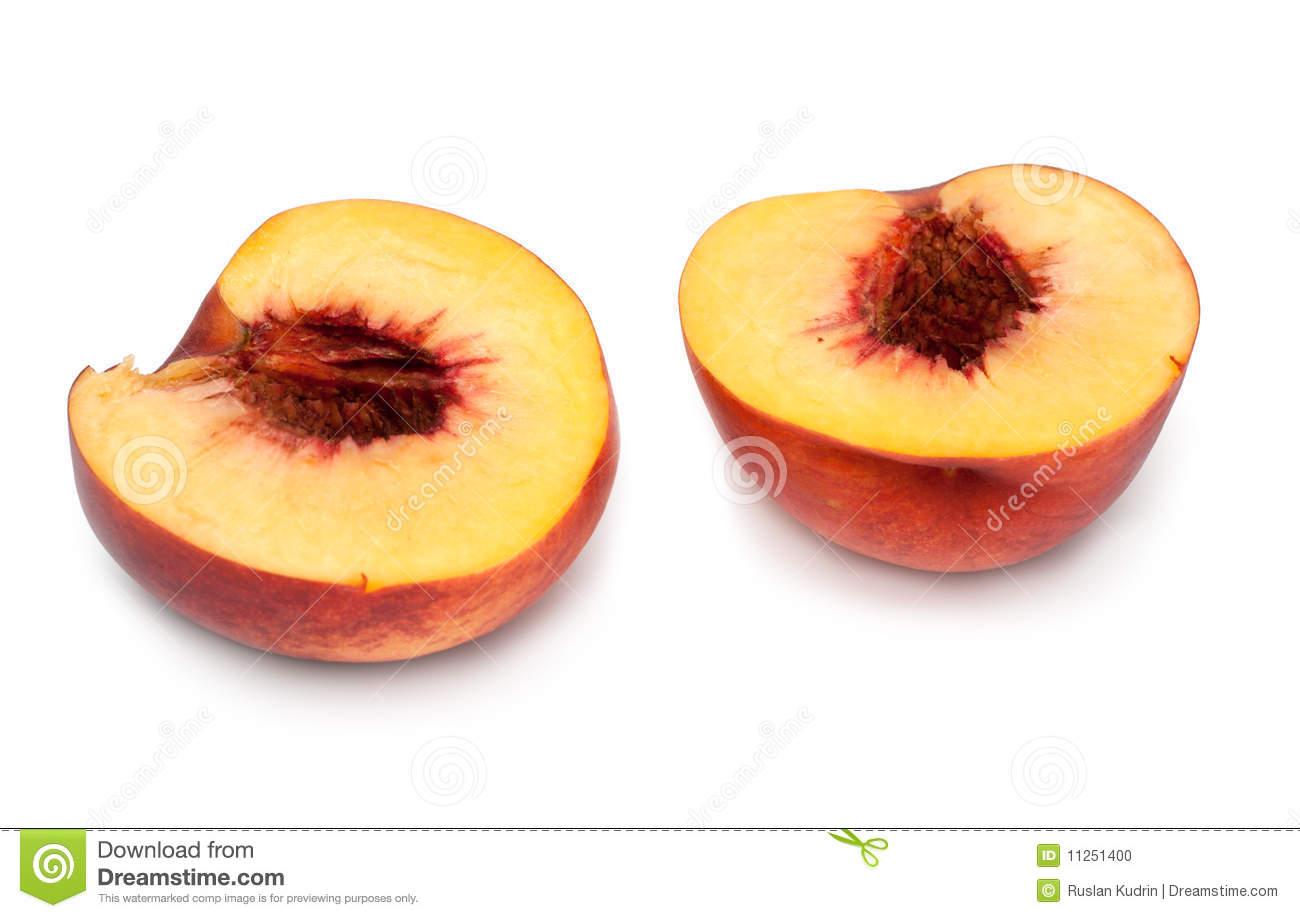 Peach cut on two parts stock photo image 11251400