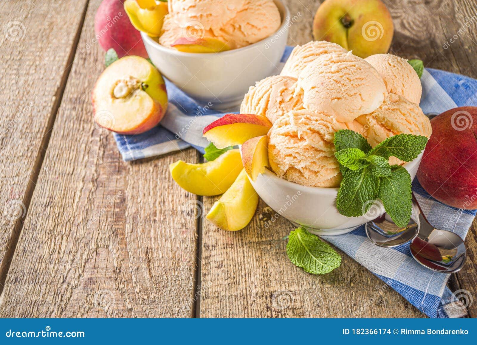 Peach Ice Cream Stock Photo Image Of Gourmet Seasonal 182366174