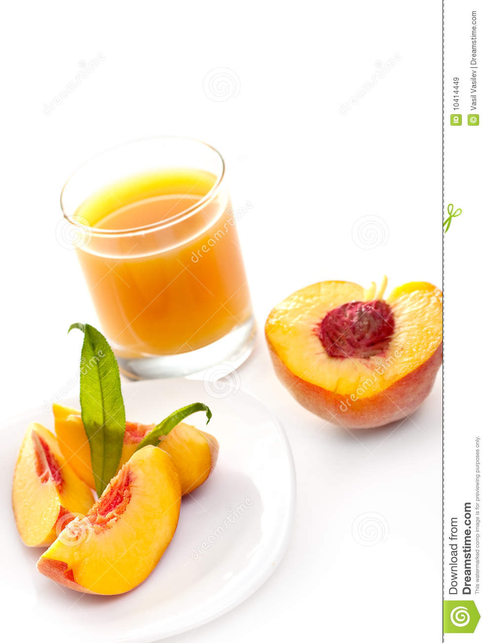 Peach juice and peaches, isolated on white background.