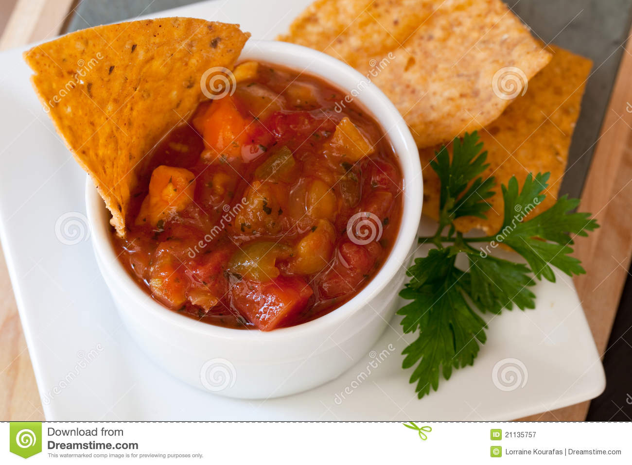 Peach Mango Salsa And Chipotle Chips Royalty Free Stock Photography ...