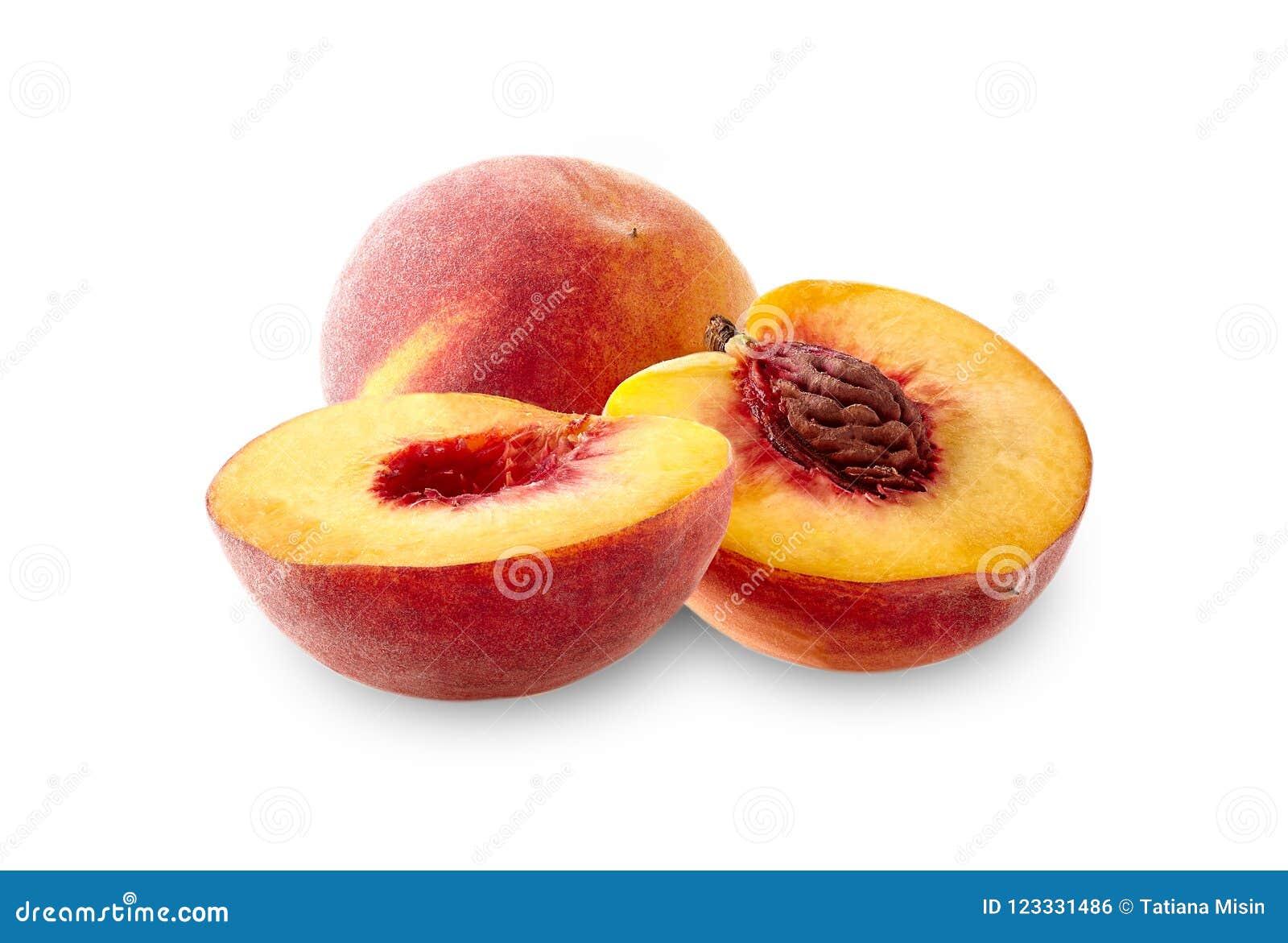 Peach with peach halves on white