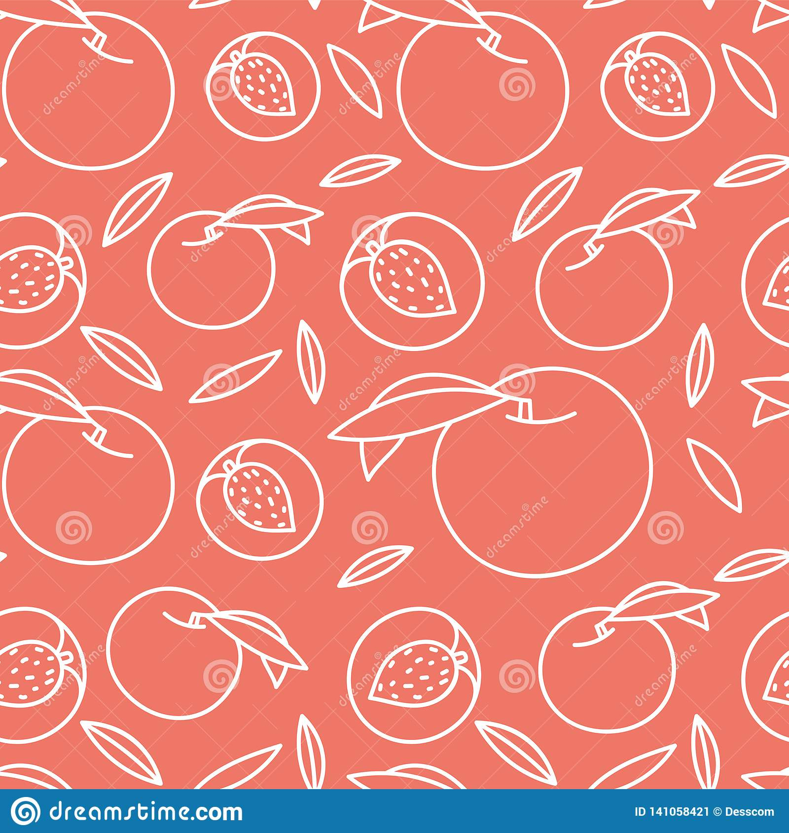 Peach Seamless Pattern Hand Drawn Fresh Exotic Fruit