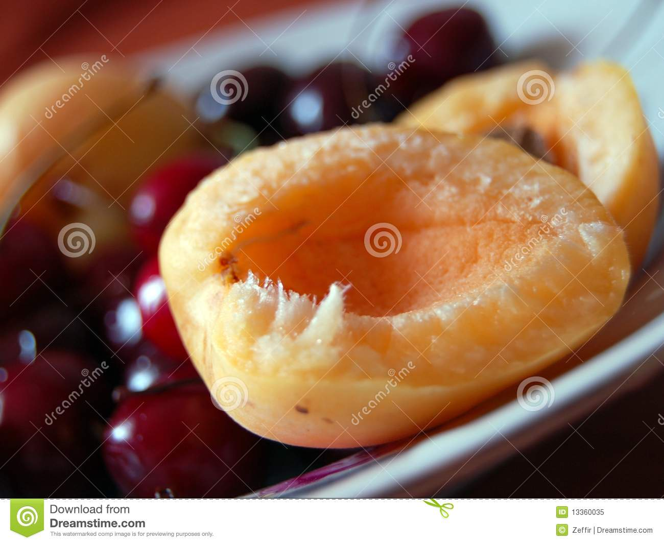 Peach And Sweet Cherry Royalty Free Stock Photo - Image ...