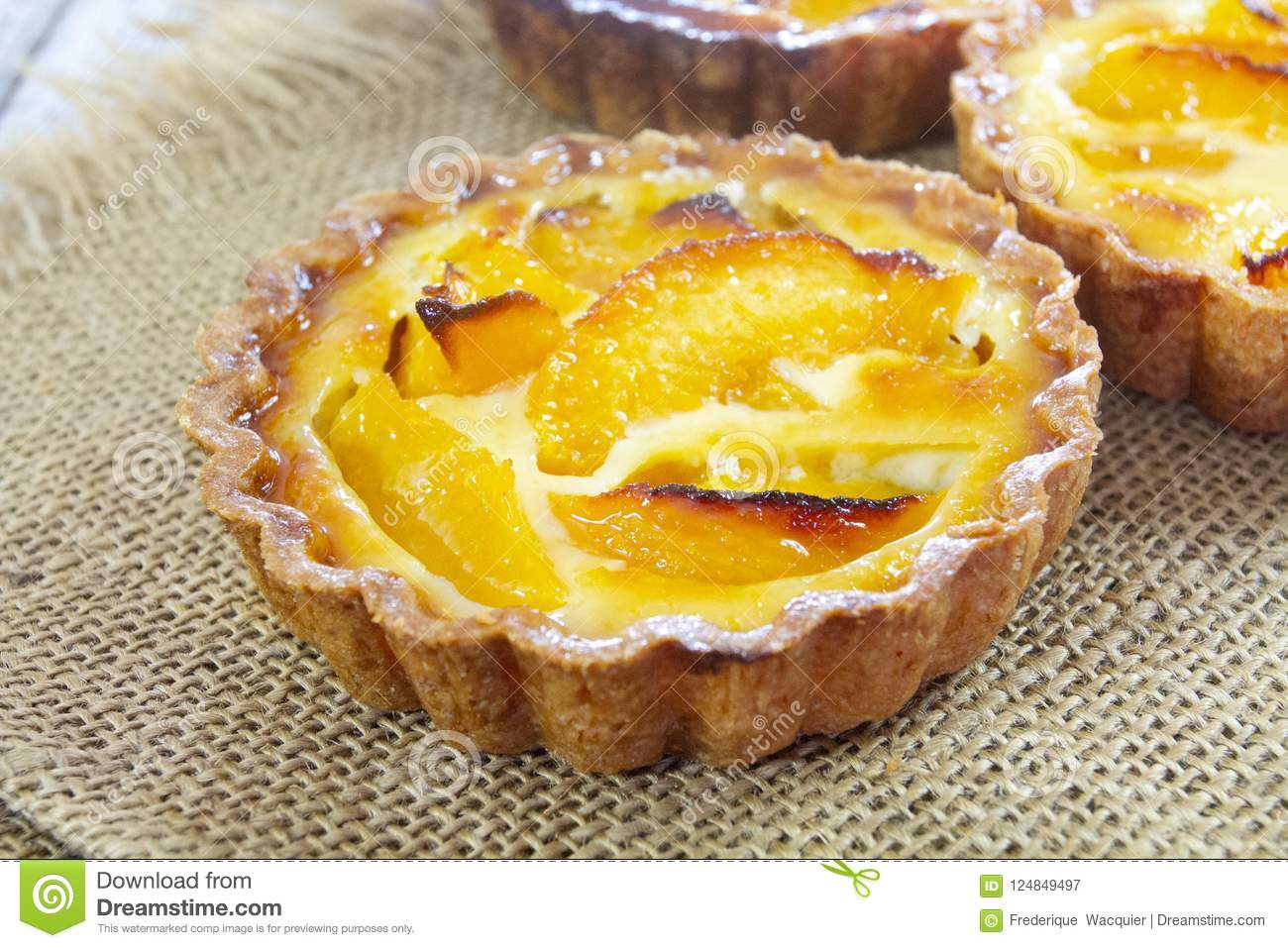 Peach tartlet individual pastry
