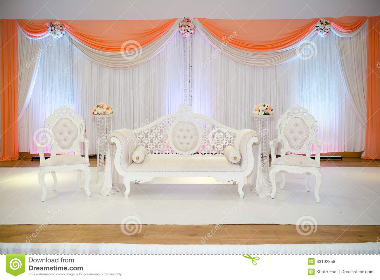 Peach themed wedding stage stock photo. Image of asian - 63102858