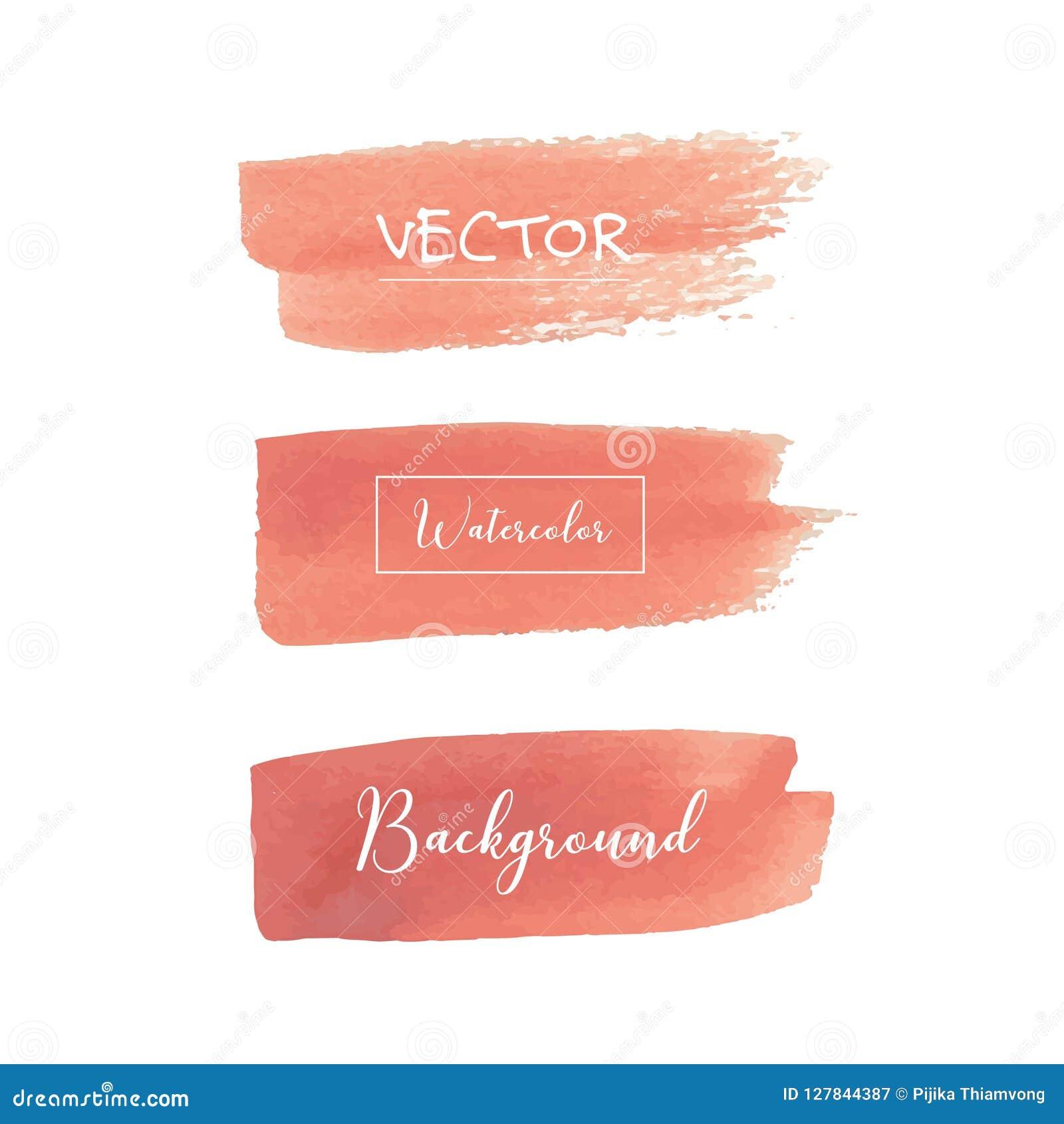 Peach Watercolor Background Pastel Watercolor Logo Stock Vector