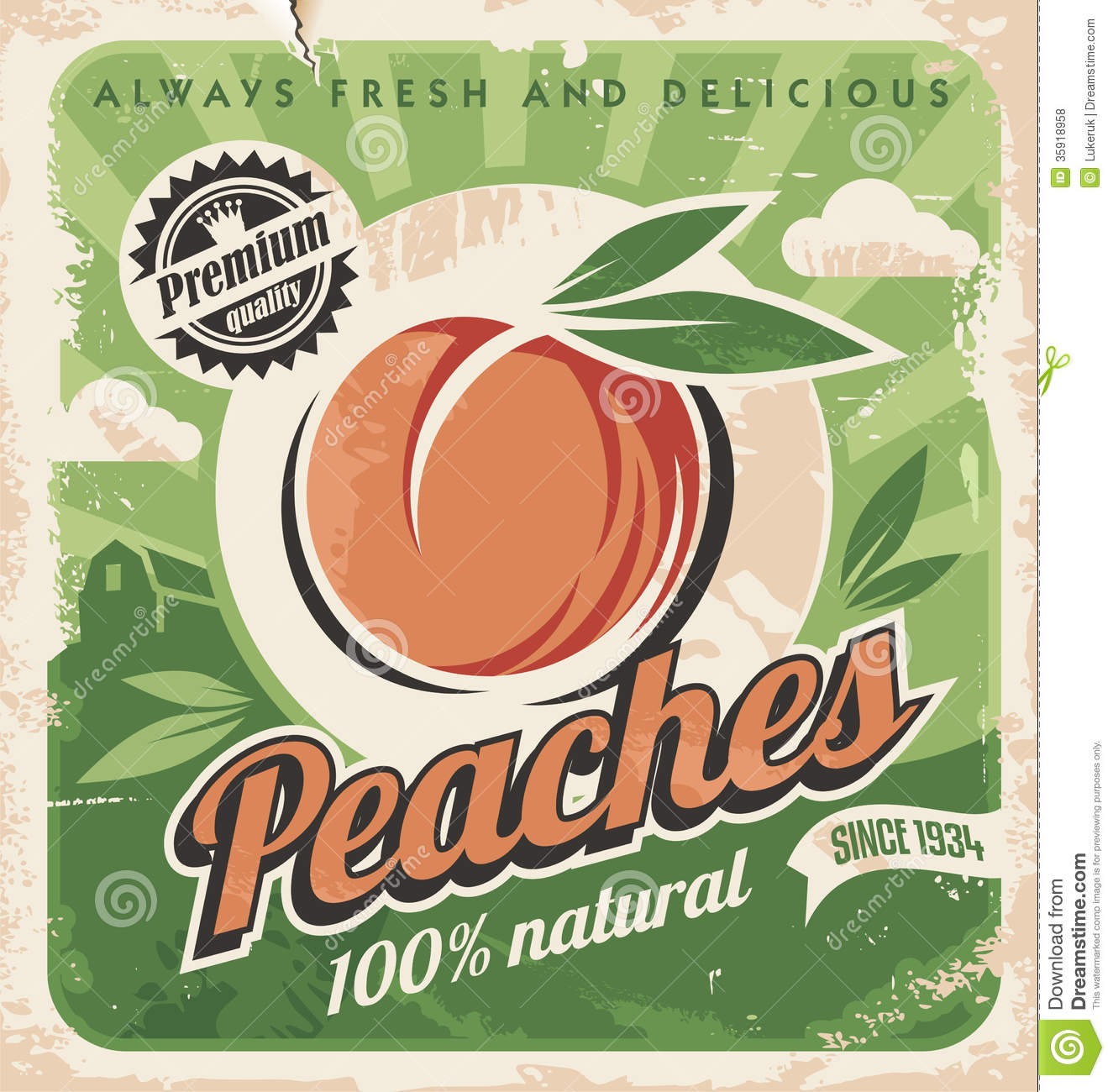 Peaches, vintage poster template