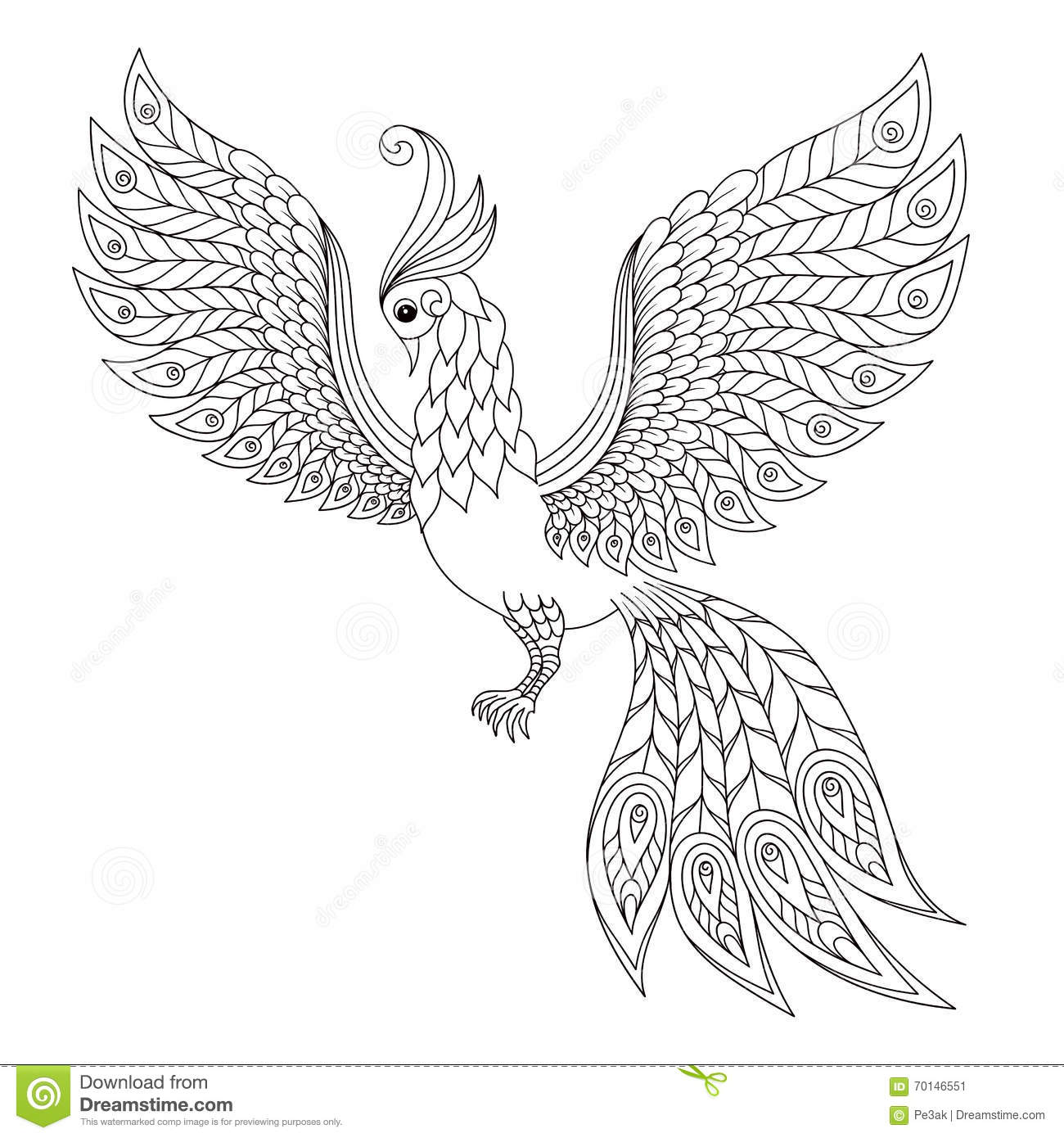 peacock antistress coloring page stock illustration