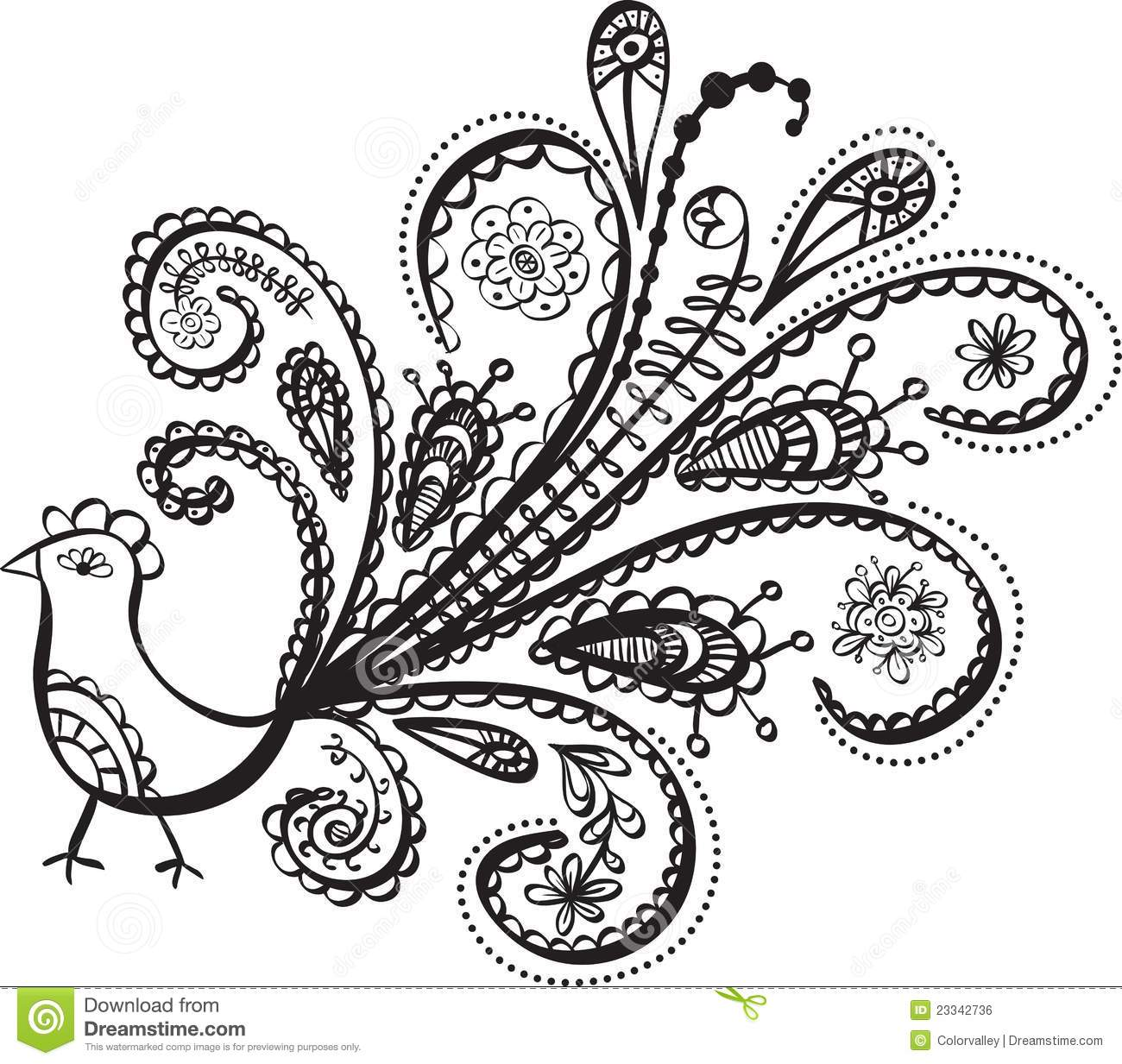 Quail Line Art : Peacock bird line art stock vector image of floral