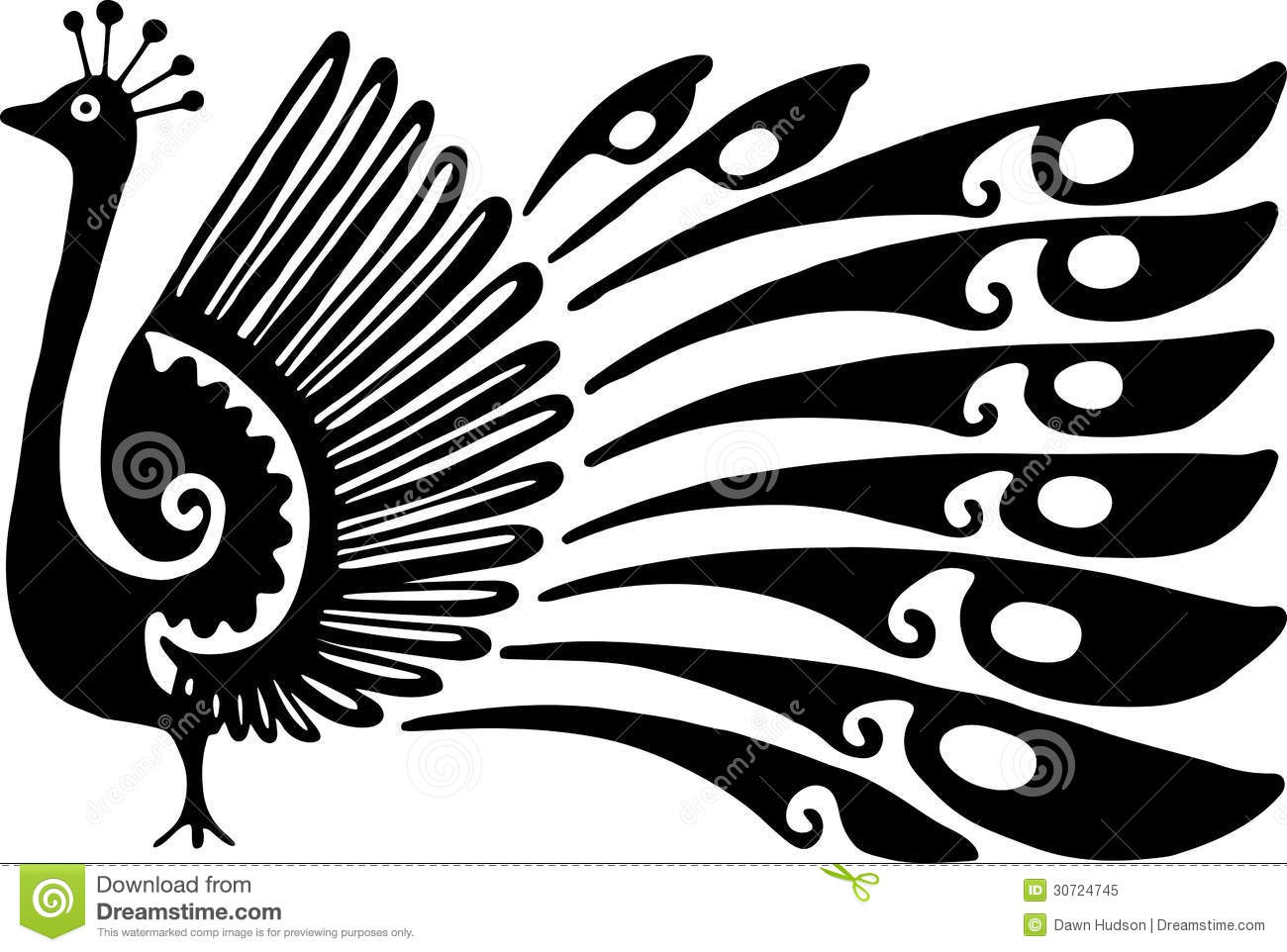 Simple Black And White Line Art : Peacock design stock illustration of
