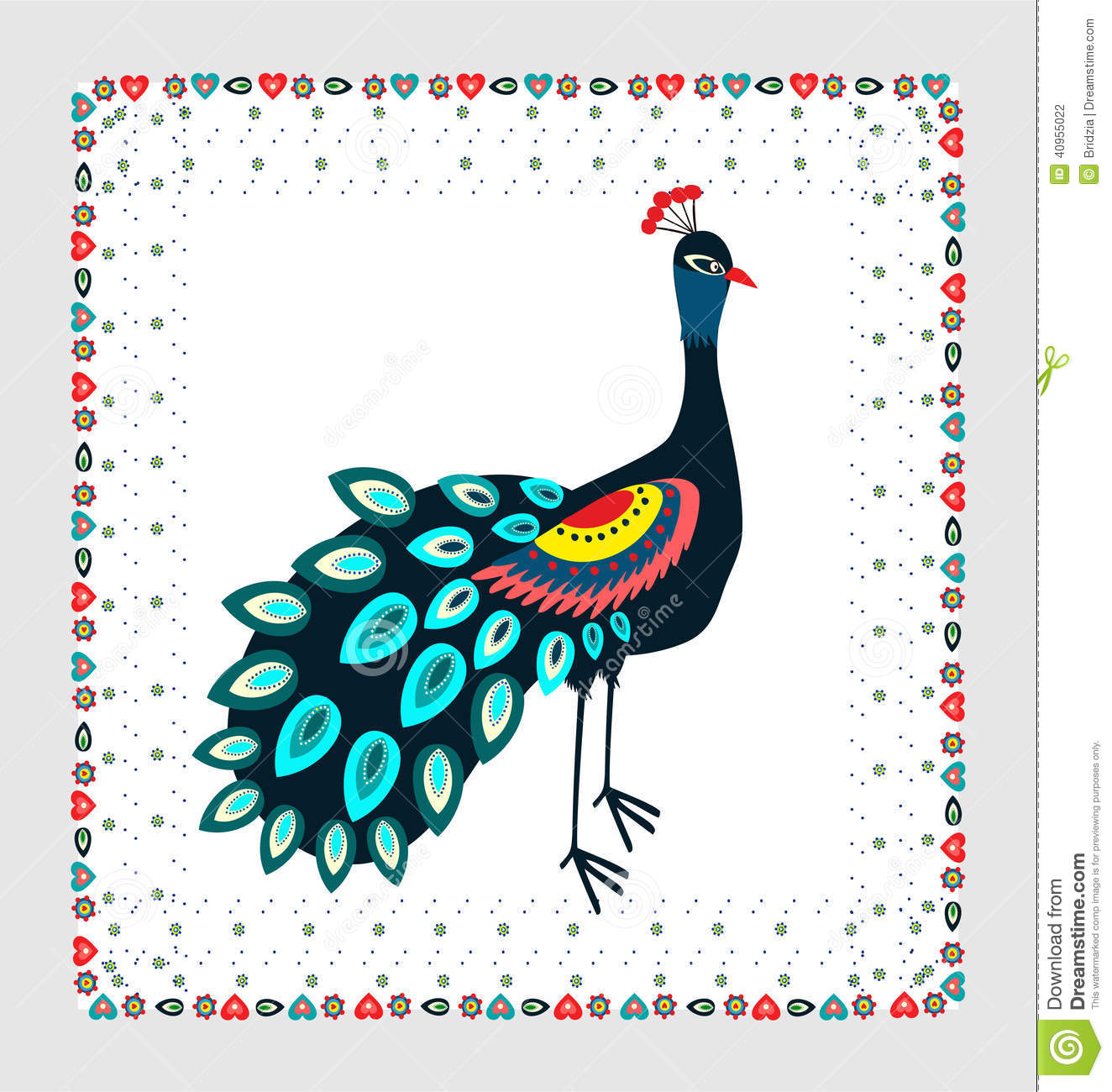Peacock embroidery stock vector. Illustration of inspiration - 40955022