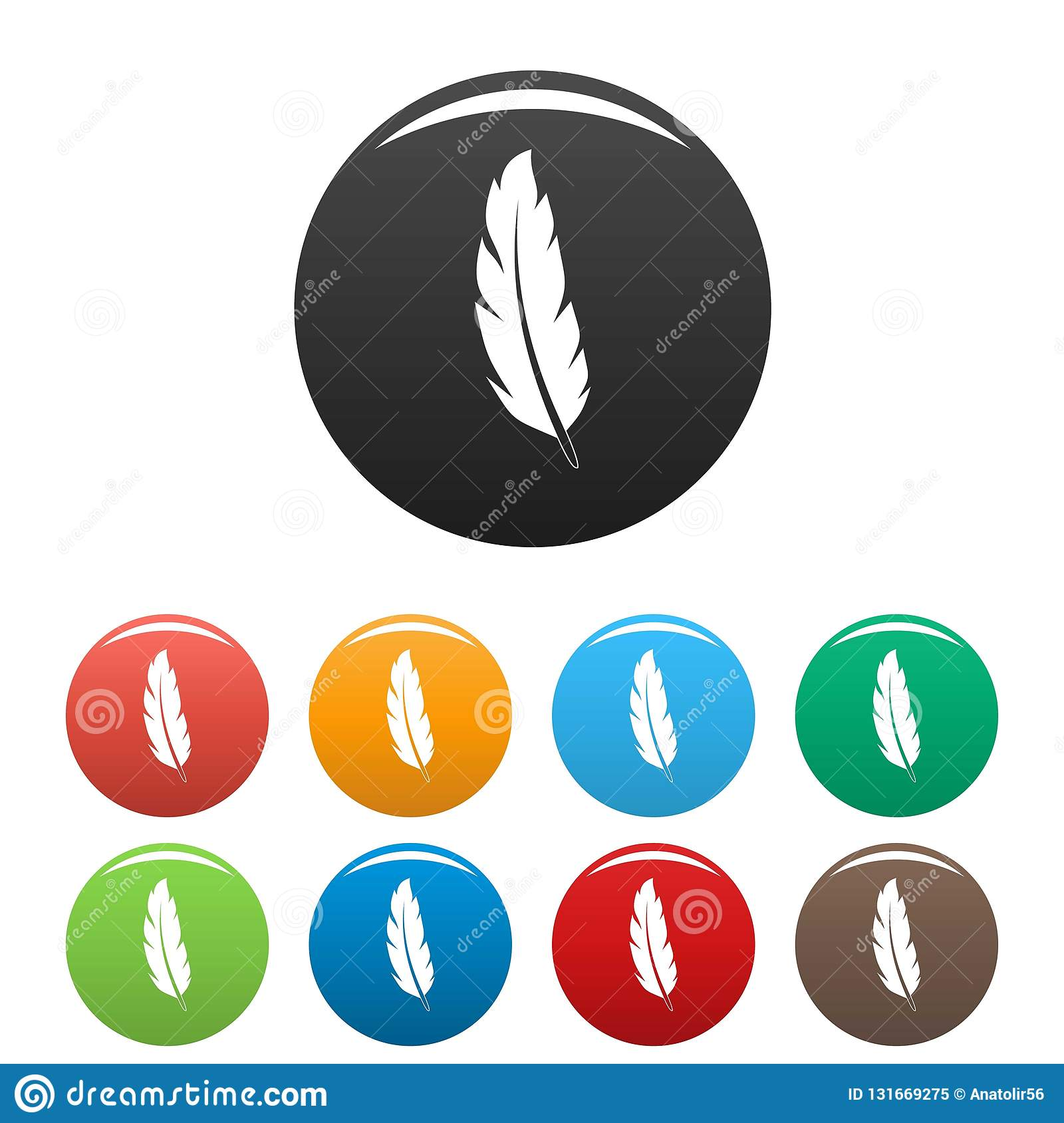 Peacock Feather Icons Set Color Stock Vector - Illustration of