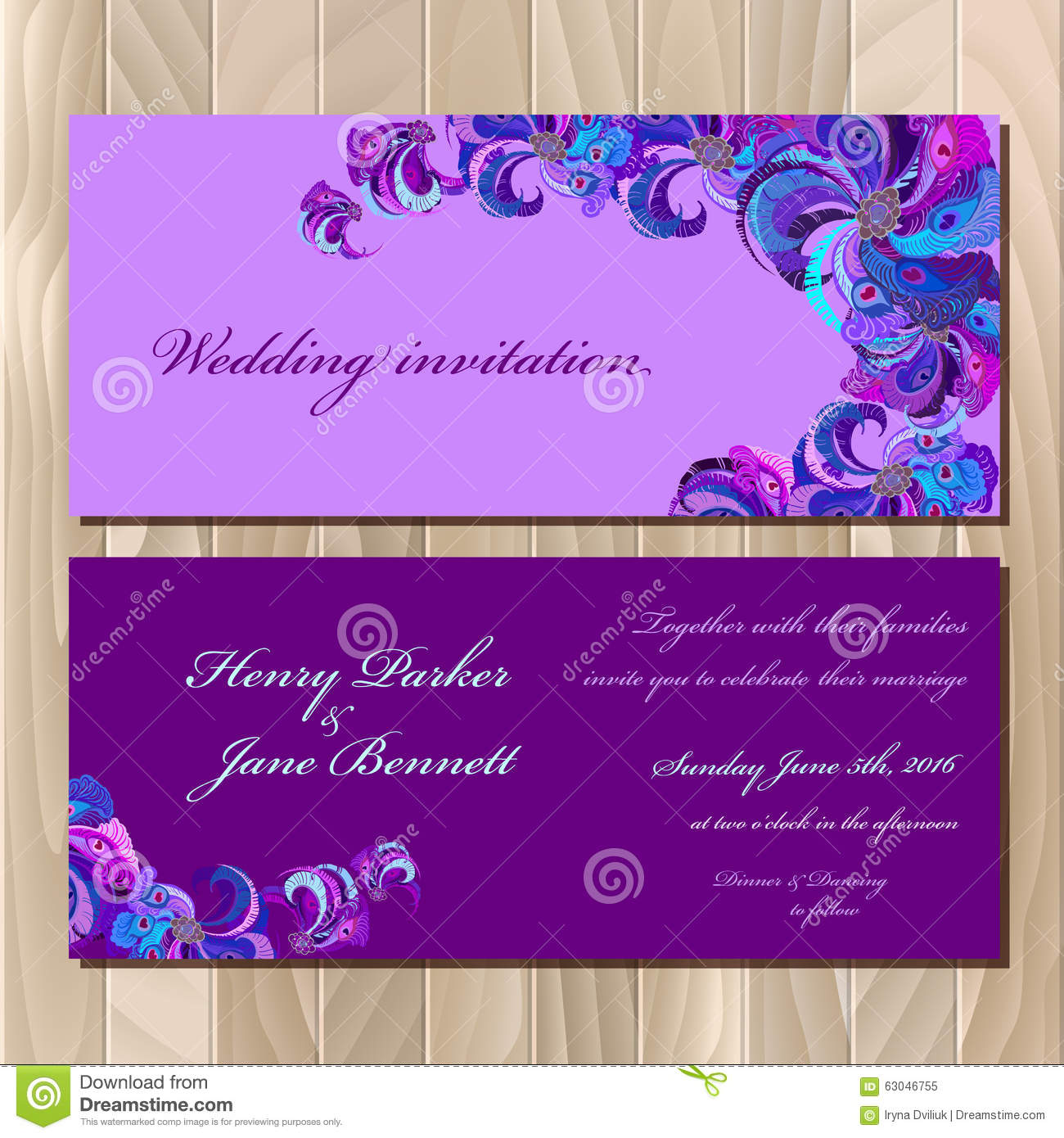 peacock feathers wedding invitation card printable vector illustration - Printable Invitation Card Stock