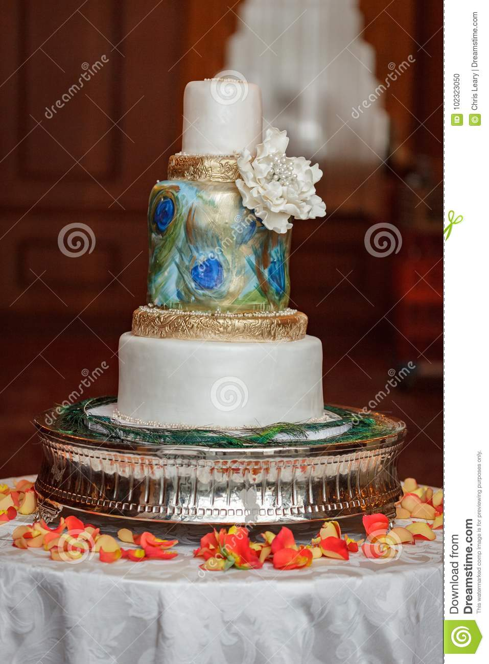 Peacock Wedding Cake.Peacock Wedding Cake Stock Photo Image Of Peacock