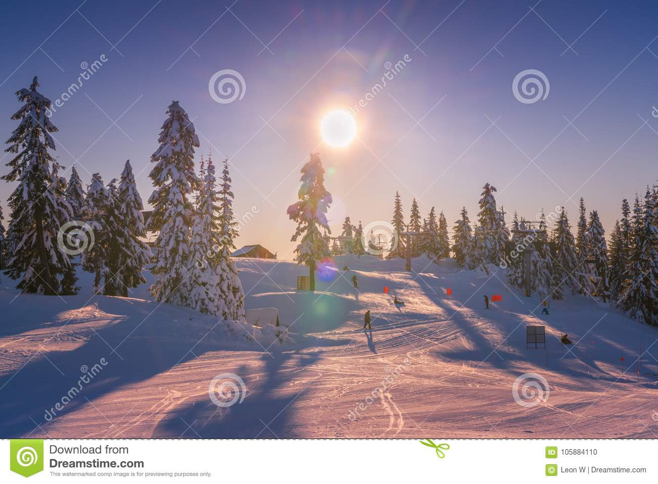 Vancouver Christmas Snow.Winter Snow Landscape At Grouse Mountain Vancouver Bc Canada