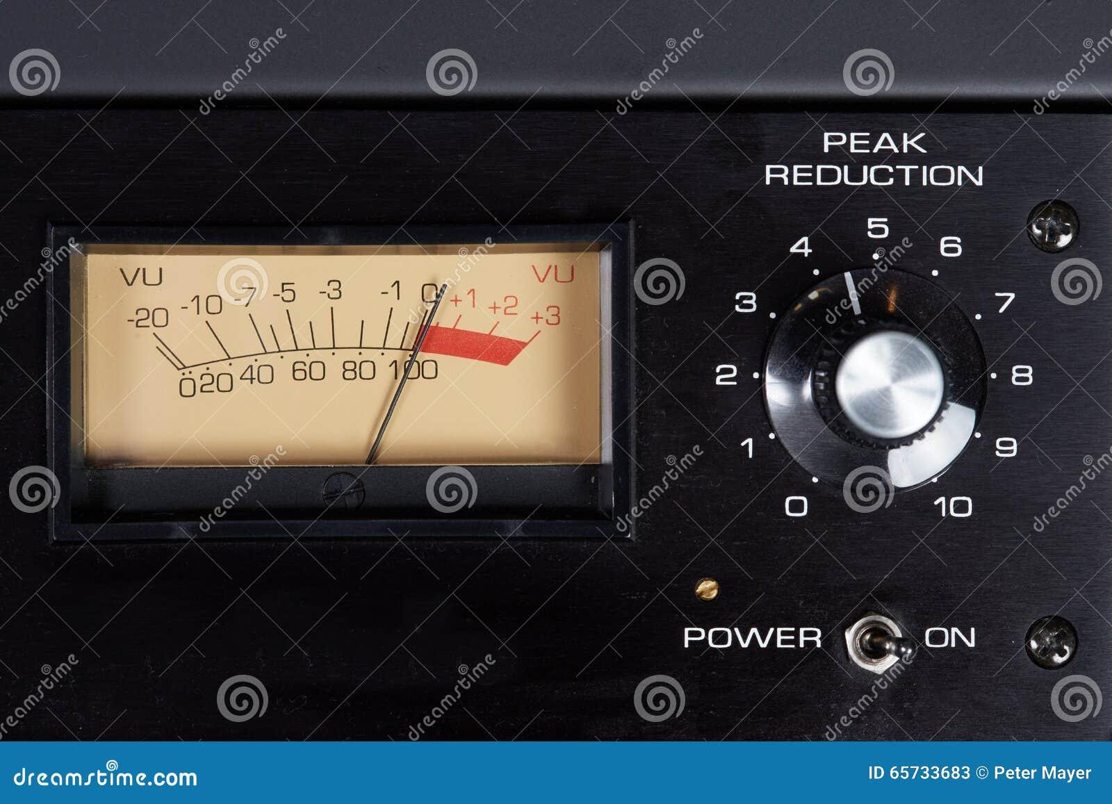 Analog Meter Background : Peak reduction audio hardware with analog vu meter stock