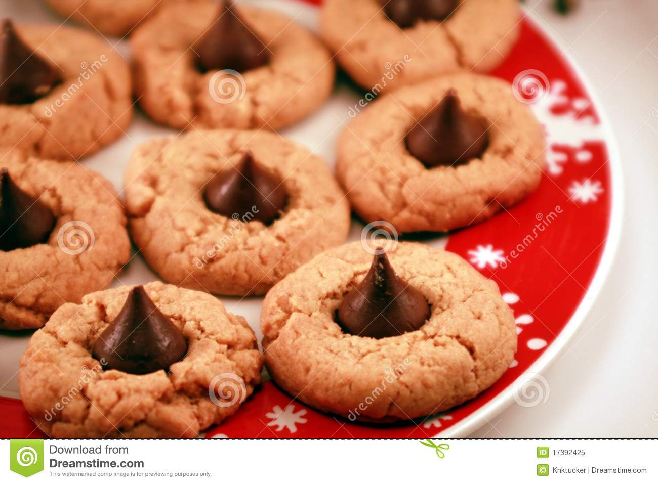 Peanut Butter And Chocolate Kiss Christmas Cookies Stock Image