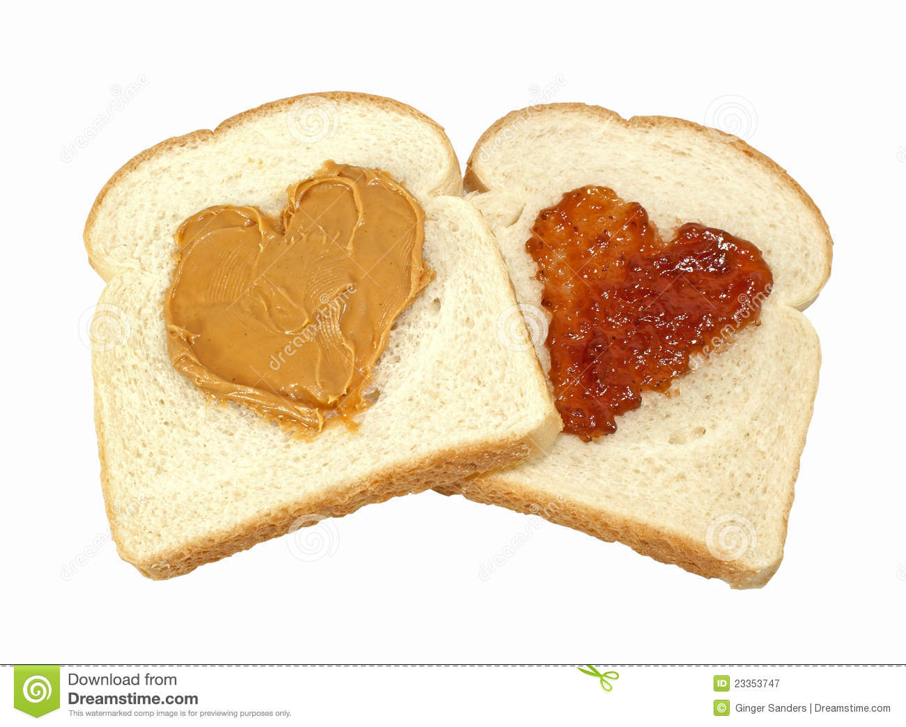 Two slices of bread with hearts of peanut butter and jelly isolated on ...