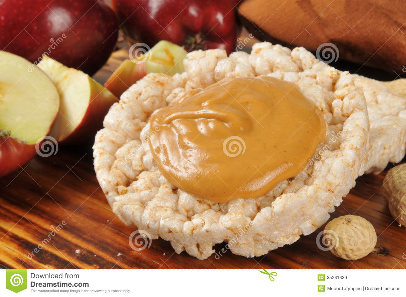 Peanut Butter On A Rice Cake Stock Photo - Image: 35261630