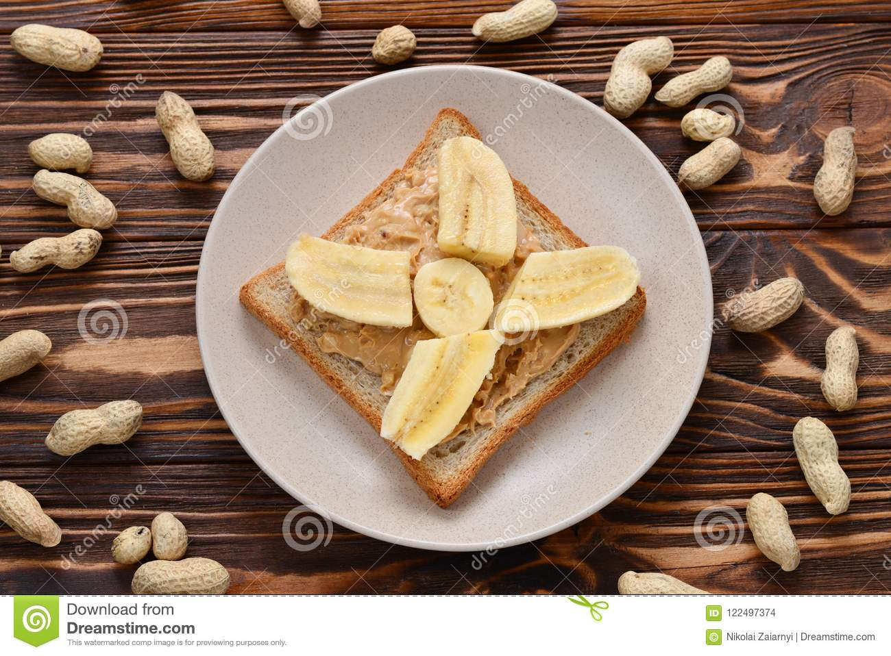 Peanut butter toast with banana slices