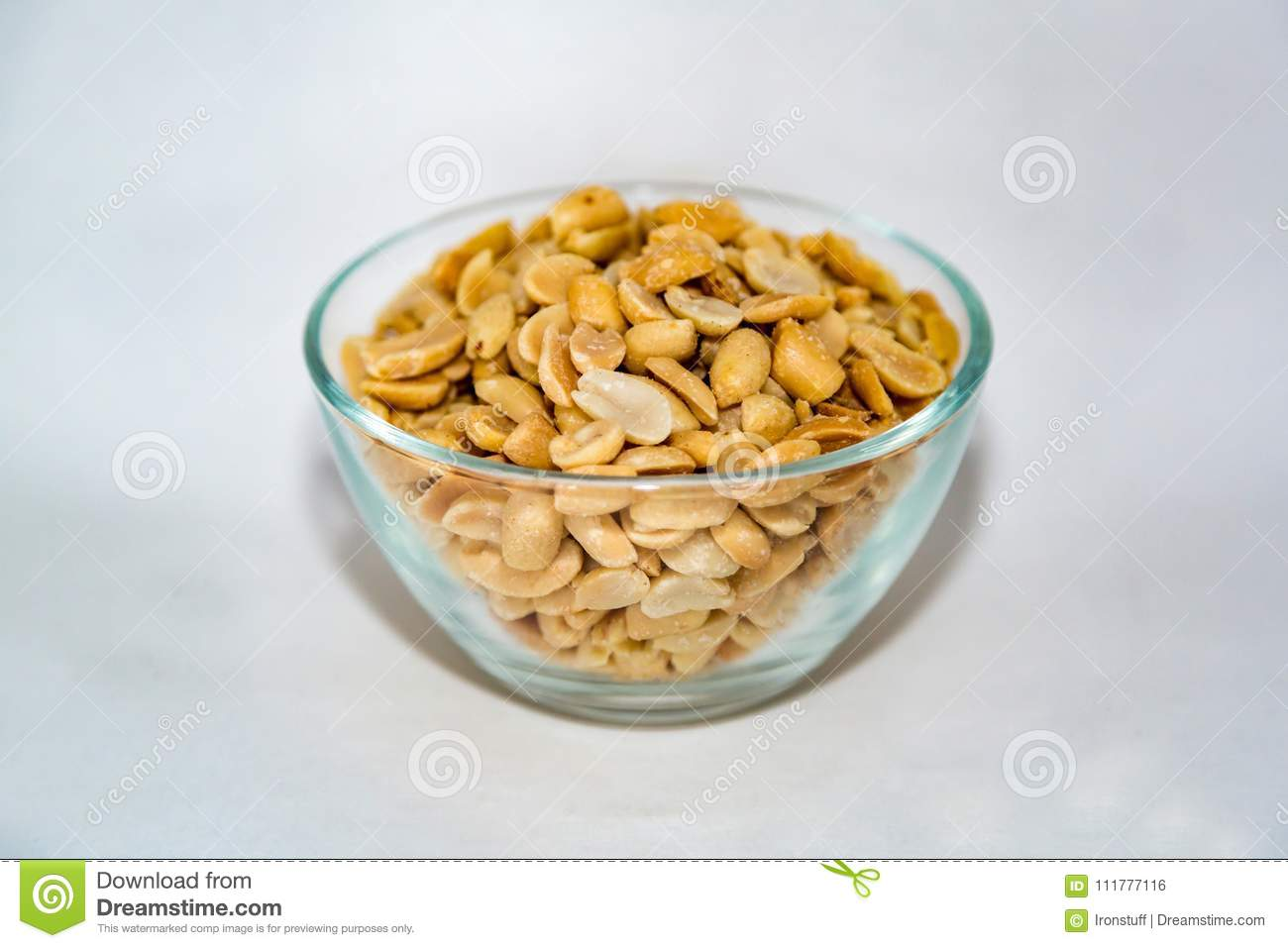 Peanuts in a glass bowl