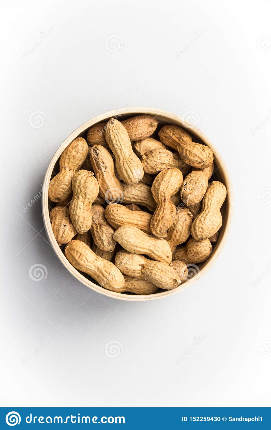 Isolated peanuts on white background