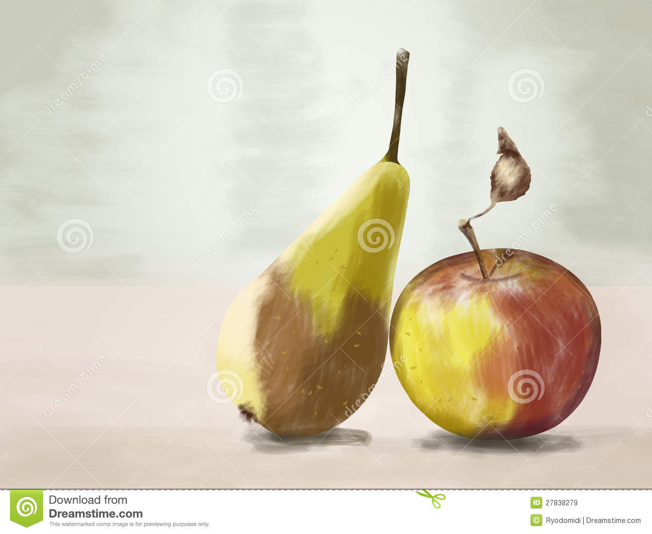 Pear And Apple Drawing Stock Illustration. Illustration Of