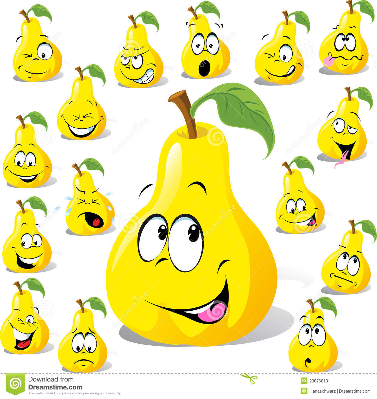 Pear Cartoon With Many Expressions Stock Photos Image
