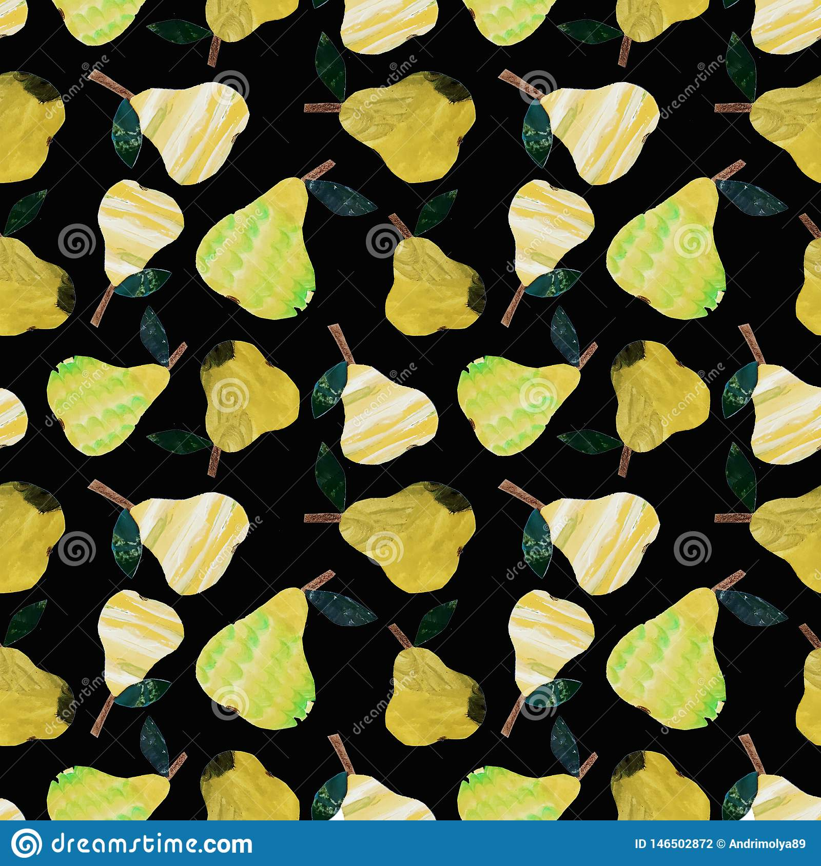 Pear collage pattern
