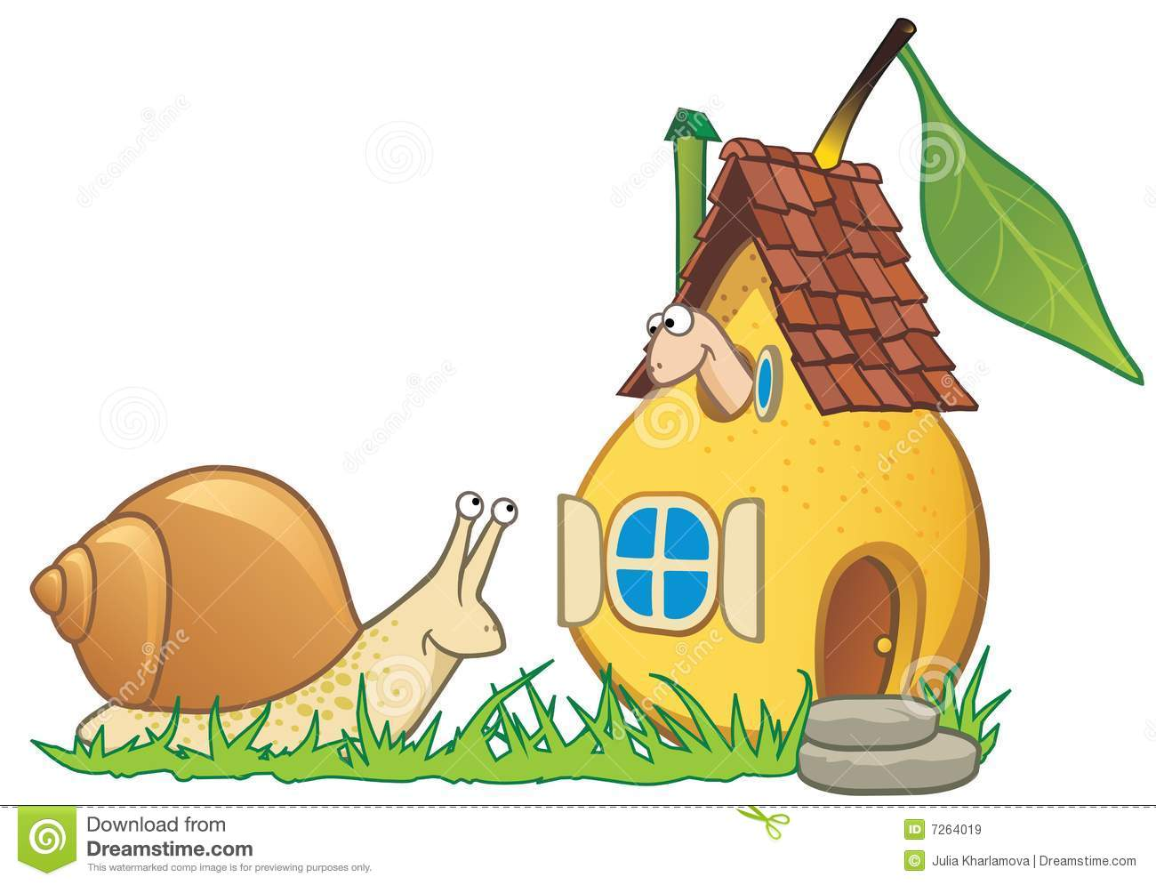 Pear House Worm And Snail Stock Illustration