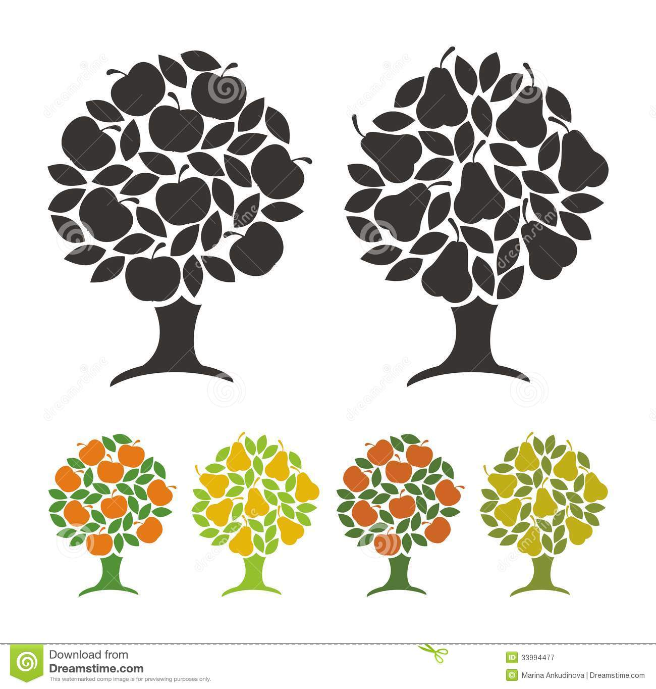 Pear Tree And Apple Tree. Royalty Free Stock Photography - Image ...
