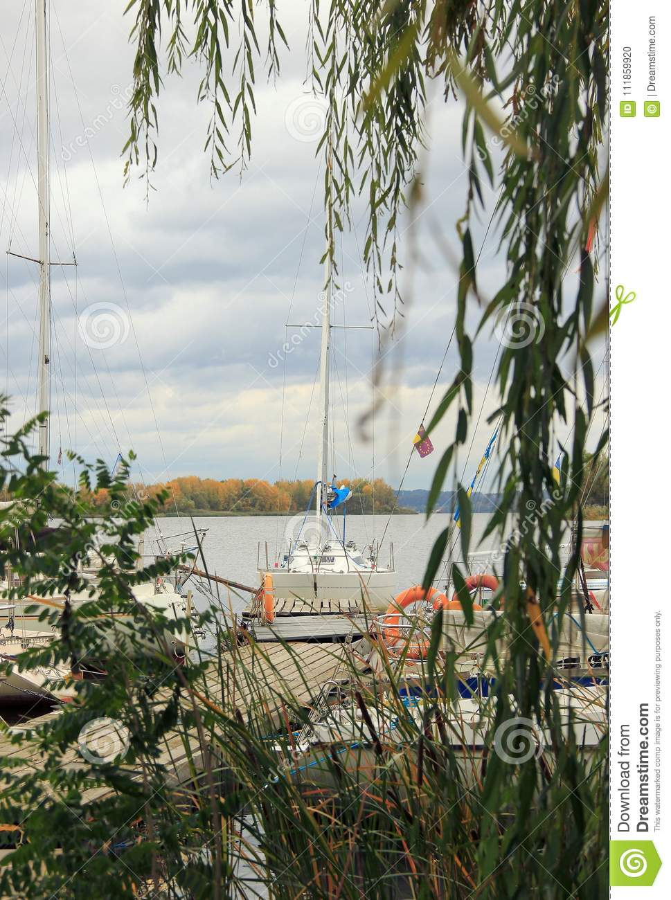 Yachts on the river Dnipro