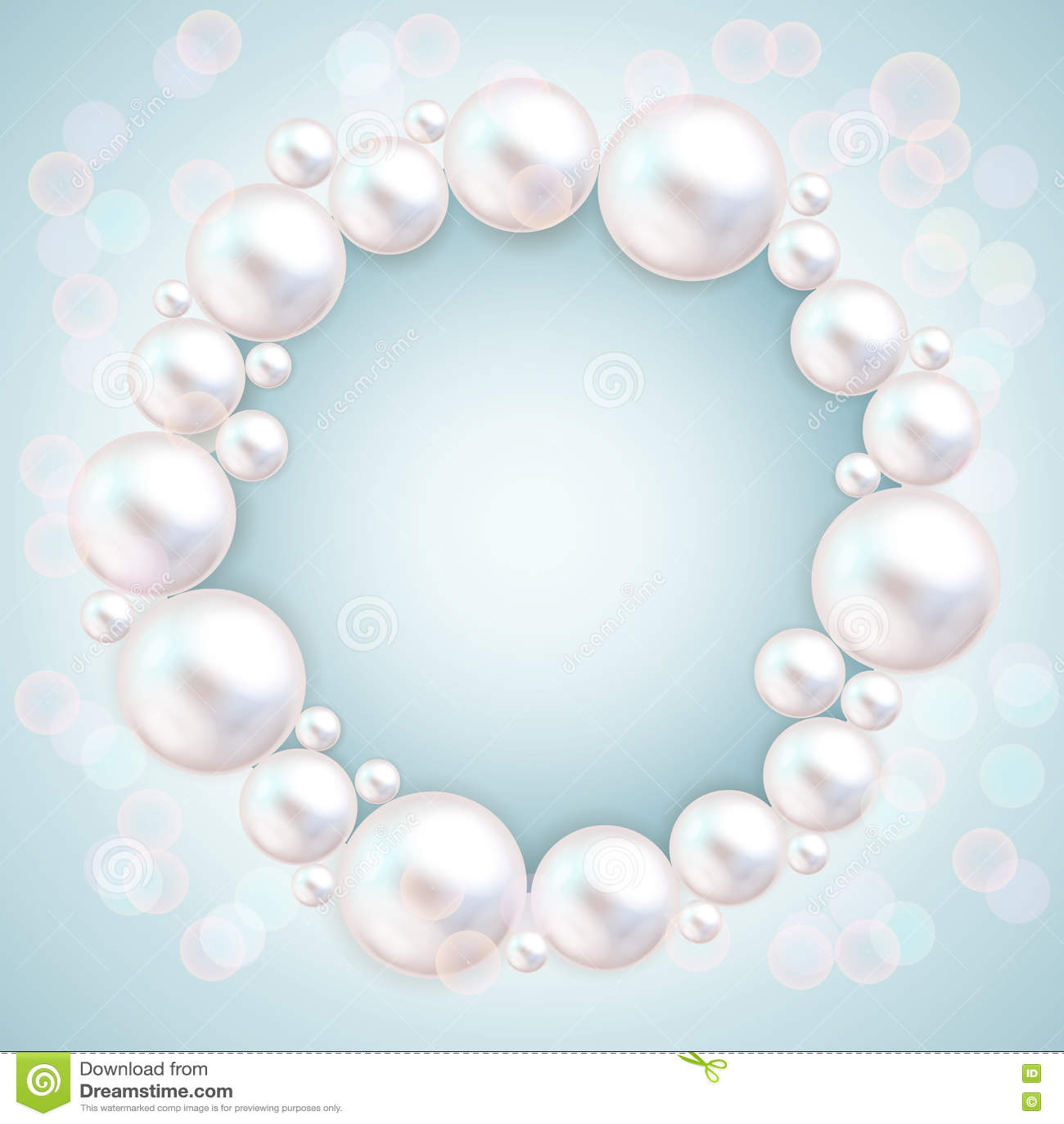 Pearl Beads Wedding Invitation Frame On Blue Background. Jewellery ...