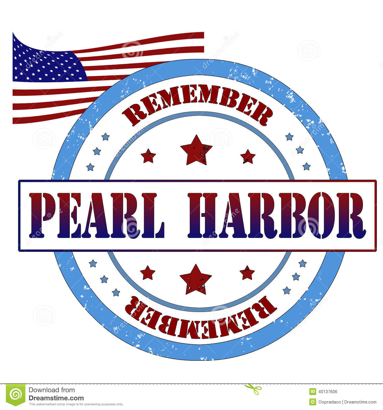 Remembrance Day Pearl Harbor >> Pearl Harbor Stamp Stock Illustration - Image: 40137606