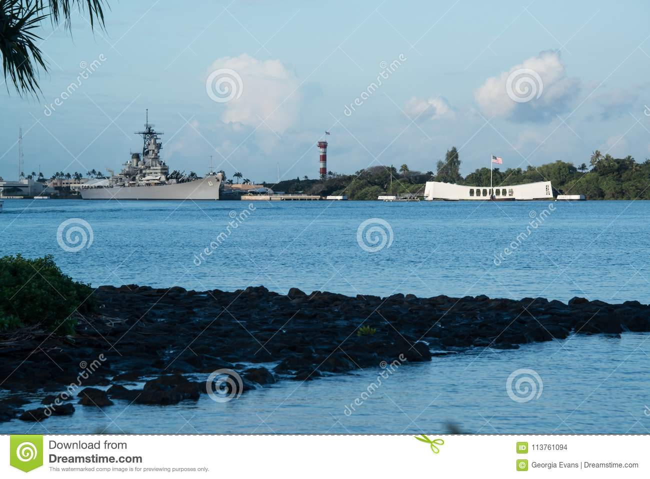 Pearl Harbor With USS Arizona Memorial And USS Missouri
