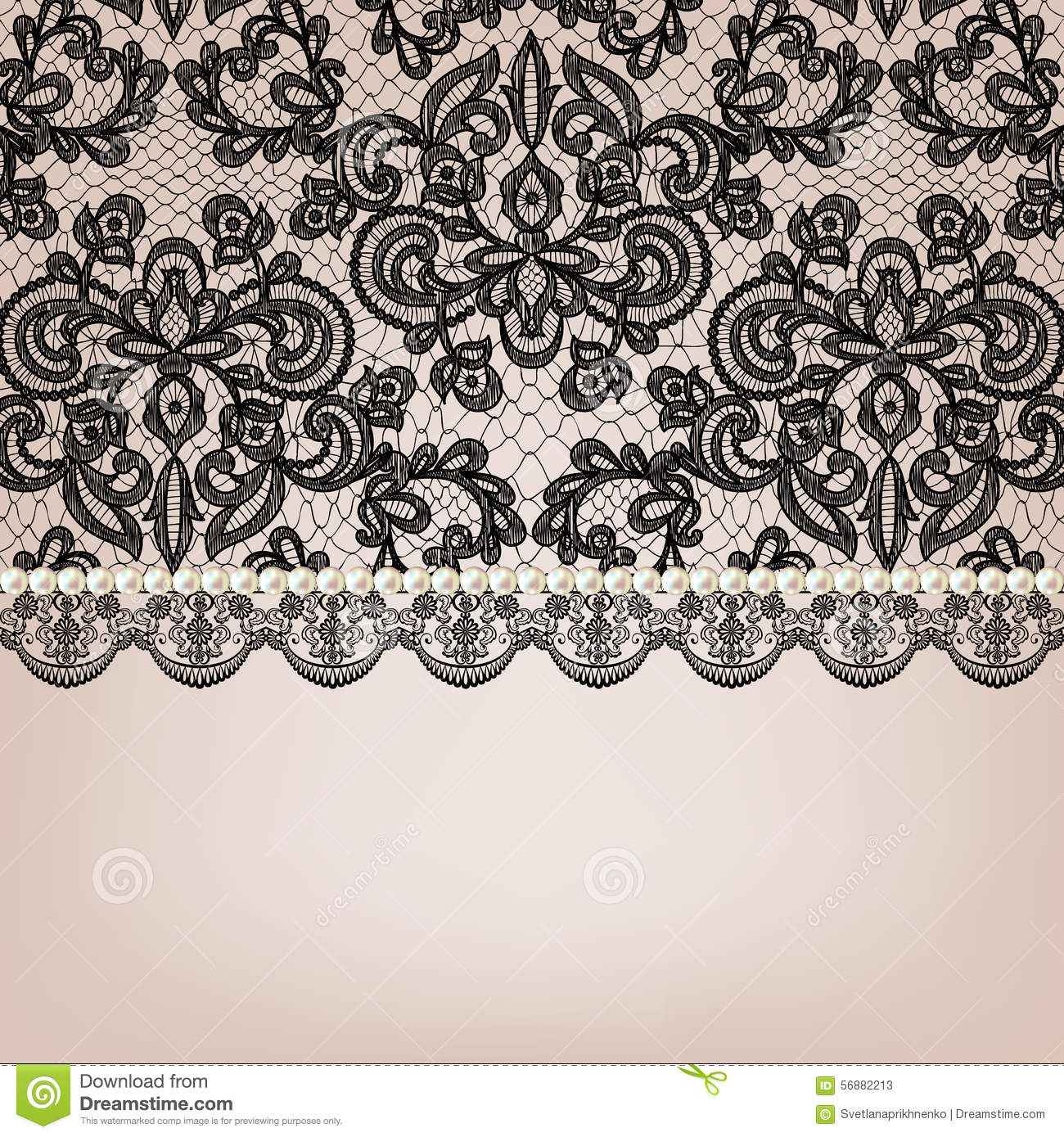 Pearl Necklace On Lace Background Stock Vector - Image ...