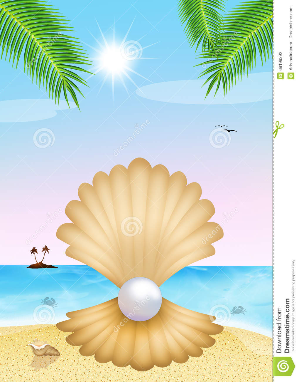Pearl In The Shell On The Beach Stock Illustration - Image ...