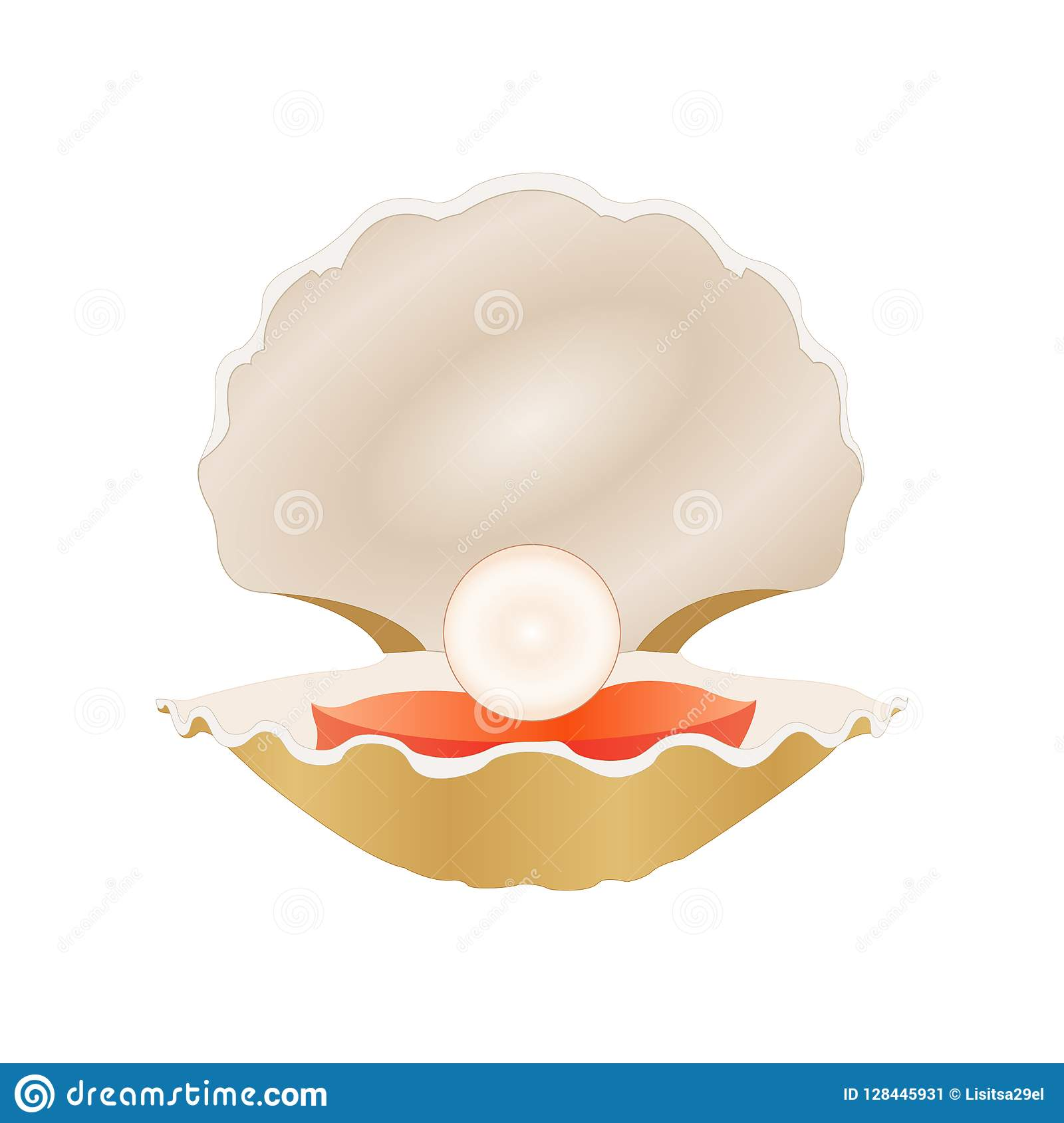 Pearl in the shell stock vector. Illustration of season ...