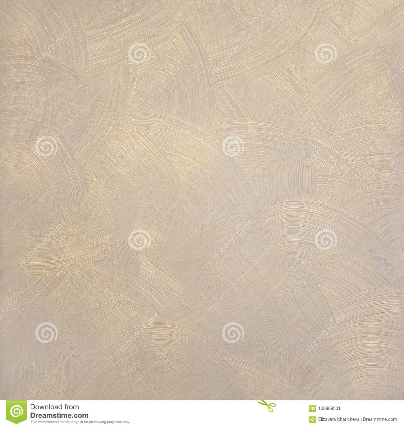 Pearlescent Texture Of Paint With Round Divorces   Beige Color With Gold.  Interior Design. Decorative Coating For Walls