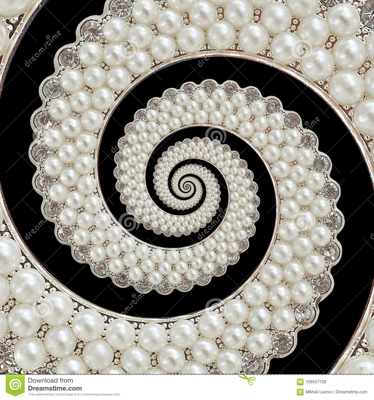 Pearls And Diamonds Jewels Abstract Spiral Background Pattern