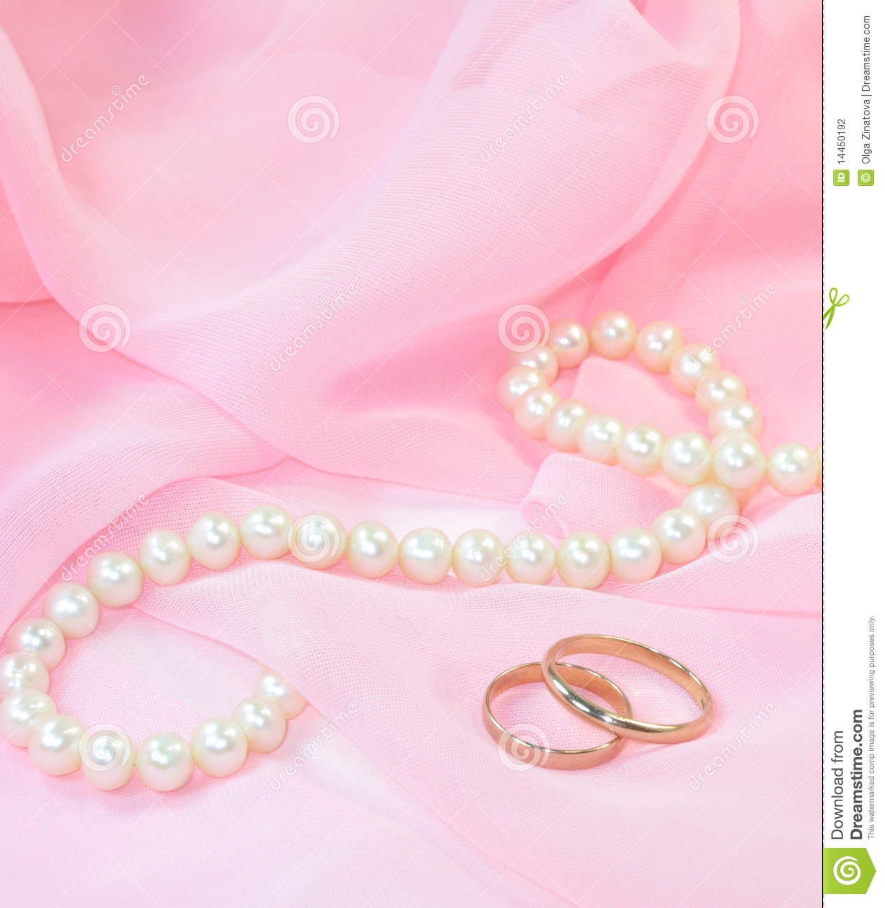 Pearls and wedding rings stock photo. Image of silk, shining - 14450192