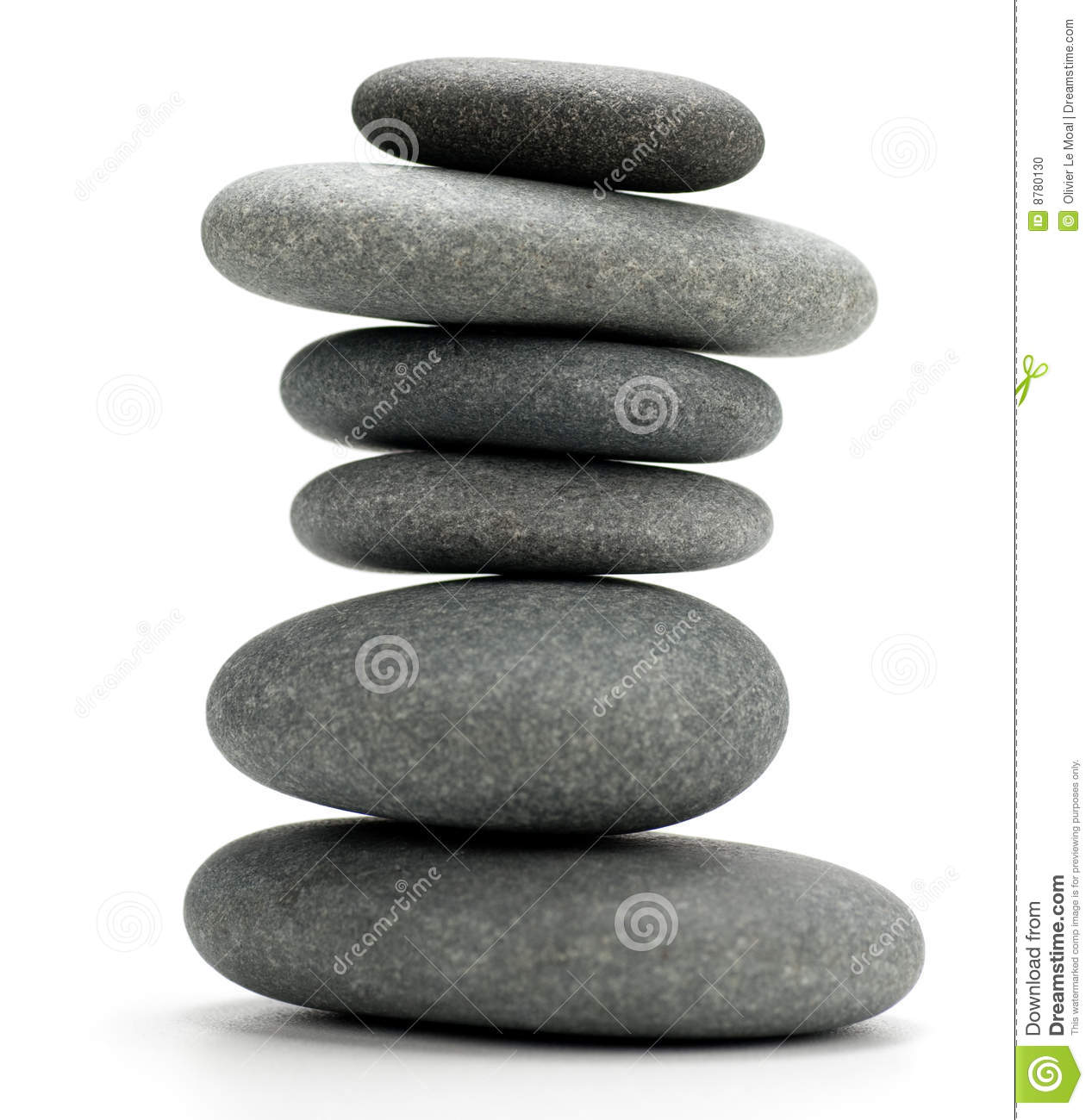 Pebbles stacked isolated on white