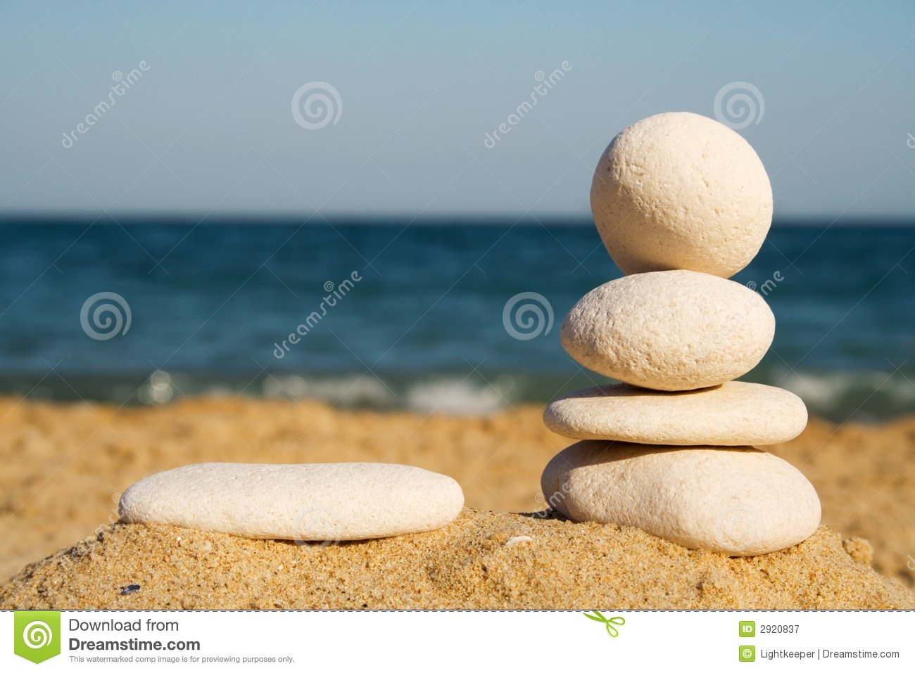 Pebbles tower on the beach