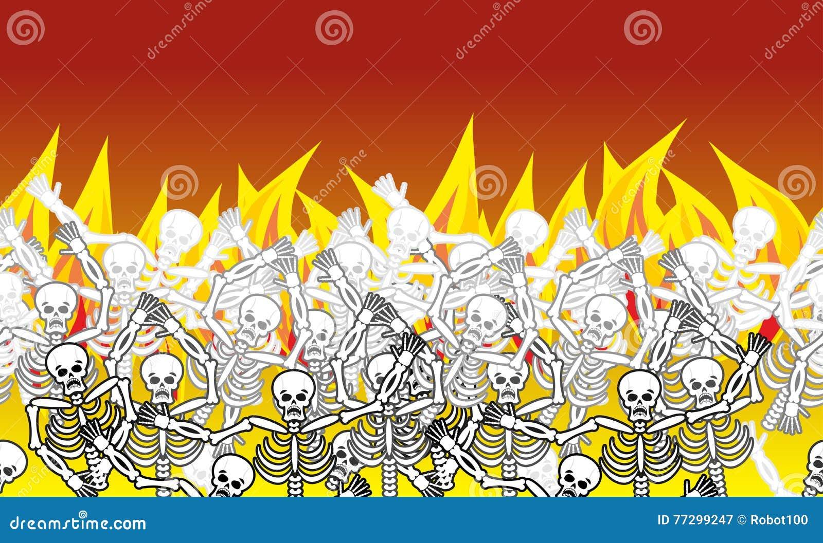 Pecadores en modelo horizontal del infierno del fuego muertos en Gehenna Skele