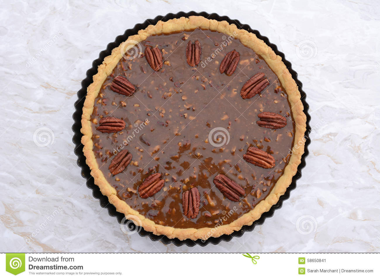 Pecan Pie Decorated With Nuts Ready To Be Baked Stock Photo - Image ...