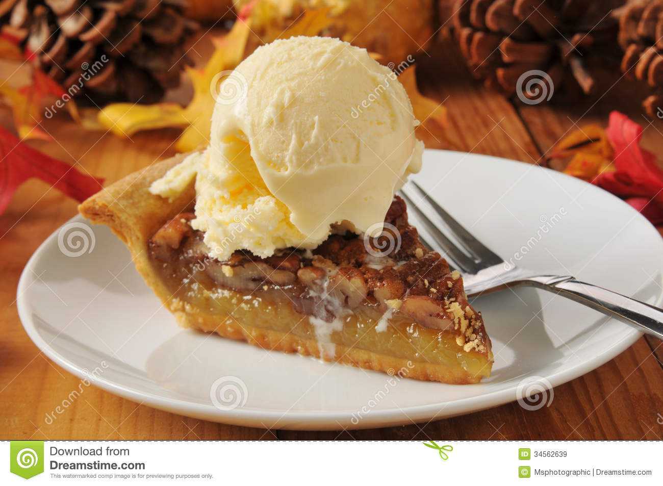 Pecan pie a la mode stock image. Image of gourds, colorful ...
